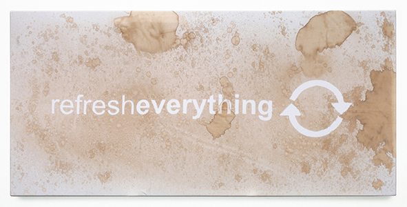 MIKE BOUCHET, Refresh Everything 2010, Artist produced diet cola on cotton, 120.02 x 240.03 cm. Courtesy Marlborough Gallery, New York