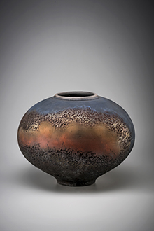 PETER WILSON Earthwork series 11 1993, ceramic, red iron and chun glaze with wax resist decoration. Collection of Bathurst Regional Art Gallery, purchase.28th Bathurst Art Purchase 1993. Greg Piper Photography
